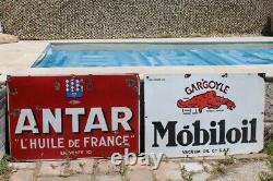 Plaque Emaillee Antar 80x120cm Annees 30 Garage Atelier Automobile Huile