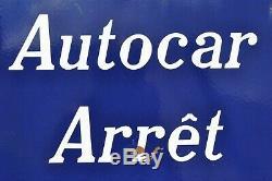 Plaque Émaillée Autocar Arrêt Transports Citroën Années 1950