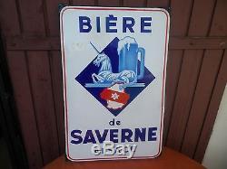 Plaque Emaillee Biere De Saverne Alsace Eas 1950 / Advertising Plate Beer