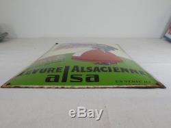 Plaque Emaillée Bombée ALSA levure alsacienne