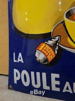 Plaque Emaillee Bombee Poule Au Pot Bleu Tres Bel Etat 12/38