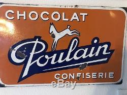 Plaque Emaillee Chocolat Poulain Rare