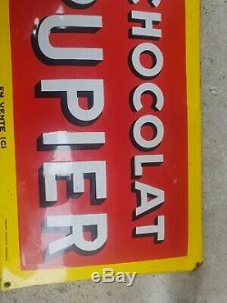 Plaque Émaillée Chocolat Pupier Bombée