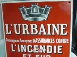 Plaque Émaillée Eas 1938 L'urbaine Compagnie Assurances Tbe Enamel Plate