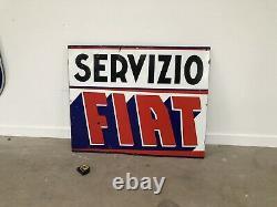 Plaque Emaillee Fiat Servizio Enamel Sign Emailschild Smaltata Porcelain