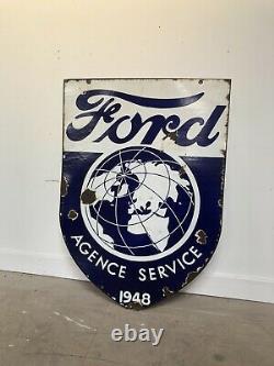 Plaque Emaillee Ford Ancienne 1940s Enamel Sign Emailschild Porcelain Chevrolet
