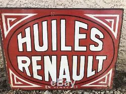 Plaque Emaillee HUILE RENAULT 1930 Double Face Enamel Garage Deco Automobilia