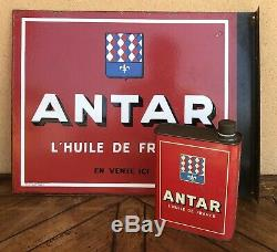 Plaque Emaillee Huile Antar Double Face