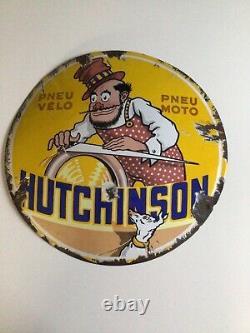 Plaque Emaillee Hutchinson Bombée Authentique