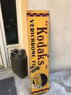 Plaque Emaillee KODAK VERICHROME GRANDE Et ANCIENNE Annee 1920,1,25m Sur 30cm L