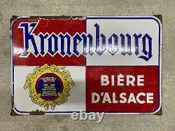 Plaque Émaillée Kronenbourg Ancienne Enamel Sign Emailschild