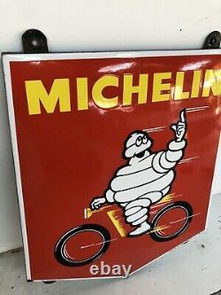 Plaque Emaillee Michelin Velo Ancienne Enamel Sign Emailschild Insegna Pneu