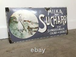Plaque Emaillee Milka Suchard Chocolat Emailschild Enamel Sign 1910s