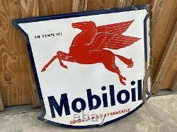 Plaque Emaillee Mobiloil Ancienne Enamel Sign Emailschild