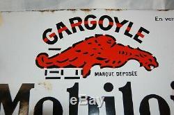 Plaque Emaillee Mobiloil Gargoyle Epoque 1950 (recto-verso). Oil Garage