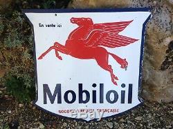Plaque Émaillée Mobiloil Socony-Vacuum Française Pégase, Garage