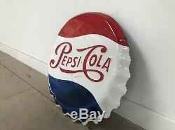 Plaque Emaillee Pepsi Ancienne Capsule Emailschild Enamel Sign