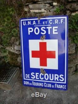 Plaque Emaillee Poste De Secours Unat Touring Club De France 90 X 60