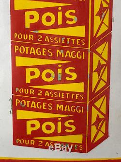 Plaque Emaillée Potages MAGGI Ancienne Publicité d'Epicerie Objet Publicitaire