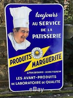 Plaque Émaillée Produits Marguerite Cuisinier Alsace EAS 1955 STRASBOURG