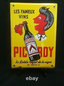 Plaque Émaillée Publicitaire Ancienne Picardy Les Fameux Vins