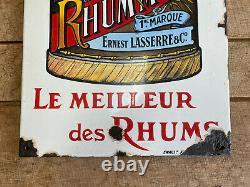 Plaque Émaillée Rare Rhum Moko Ancienne Enamel Sign Emailschild