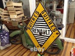 Plaque Emaillee Renault Losange Ancienne Guitres