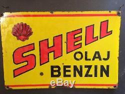 Plaque Émaillée SHELL OIL ENAMEL ORIGINALE SIGN EMAILLSCHILD No Bidon Huile