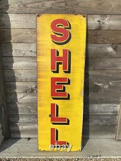 Plaque Émaillée Shell Ancienne Enamel Sign Emailschild