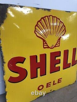 Plaque Emaillee Shell Huile Oele Emailschild Enamel Sign Porcelain 1920s