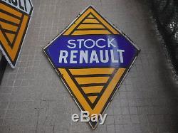Plaque Emaillee Stock Renault (plaque De Garage Double Face)