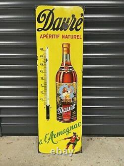 Plaque Émaillée Thermomètre Daure Armagnac Ancienne Enamel Sign Emailschild