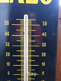 Plaque Émaillée Thermomètre. Huiles Labo Super. Garage