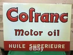 Plaque Emaillee Tôle Publicitaire Cofranc Huile Bidon Garage 69 X 49,5 CM
