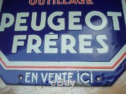 Plaque Émaillée ancienne OUTILLAGE PEUGEOT Frères GARAGE