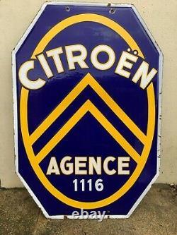 Plaque Emmaillée Citroen Agence 1116. Double Face. 110 Cms X 75 Cms