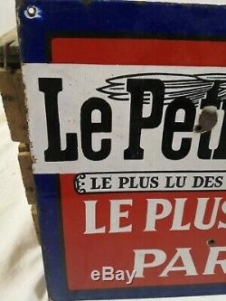 Plaque Le Petit Parisien émaillée double face/émaillerie alsacienne Strasbourg