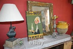 Plaque Non émaillée vintage (Tôle lithographiée DOUBLE face) BADOIT 1930