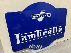 Plaque Rare Émaillée Ancienne Lambretta Scooter Enamel Sign Emailschild