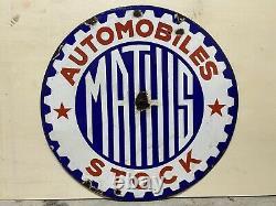 Plaque Rare Émaillée Mathis Stock Automobiles Ancienne Enamel Sign Emailschild