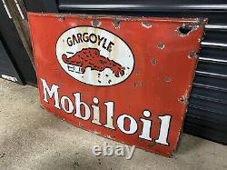 Plaque Rare Émaillée Mobiloil Ancienne Enamel Sign Emailschild