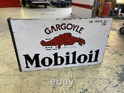 Plaque Rare Émaillée Mobiloil Automobiles Ancienne Enamel Sign Emailschild