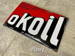 Plaque Rare Émaillée Okoil Ancienne Enamel Sign Emailschild