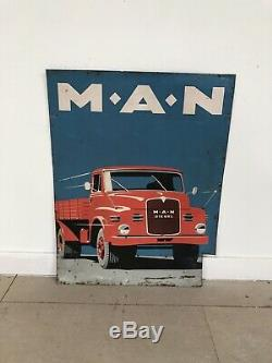 Plaque Tole MAN Ancienne Publicitaire No Emaillee Enamel Sign