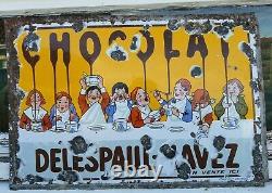 Plaque ancienne émaillée DELESPAUL HAVEZ Chocolat ANCIEN Emaillerie alsacienne