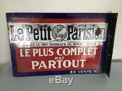 Plaque ancienne émaillée Double Face publicitaire LE PETIT PARISIEN / D'époque