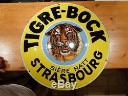 Plaque emaillé bière tigre bock année 1920