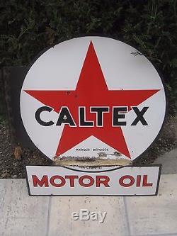 Plaque emaillée caltex potence motor oil