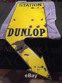 Plaque emaillée double face Dunlop Station sans horloges dans son jus