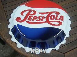 Plaque emaillé pepsi cola vintage 48cm forme capsule